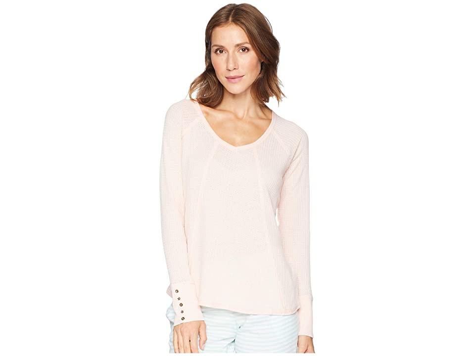 P.J. Salvage Washed Waffle Long Sleeve Top (Blush) Women