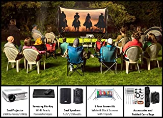 Backyard Theater Kit | Recreation Series System | 9' Front and Rear Projection Screen with HD Savi 3000 Lumen Projector, Sound System & Blu-Ray Player w/WiFi (EZ-950)