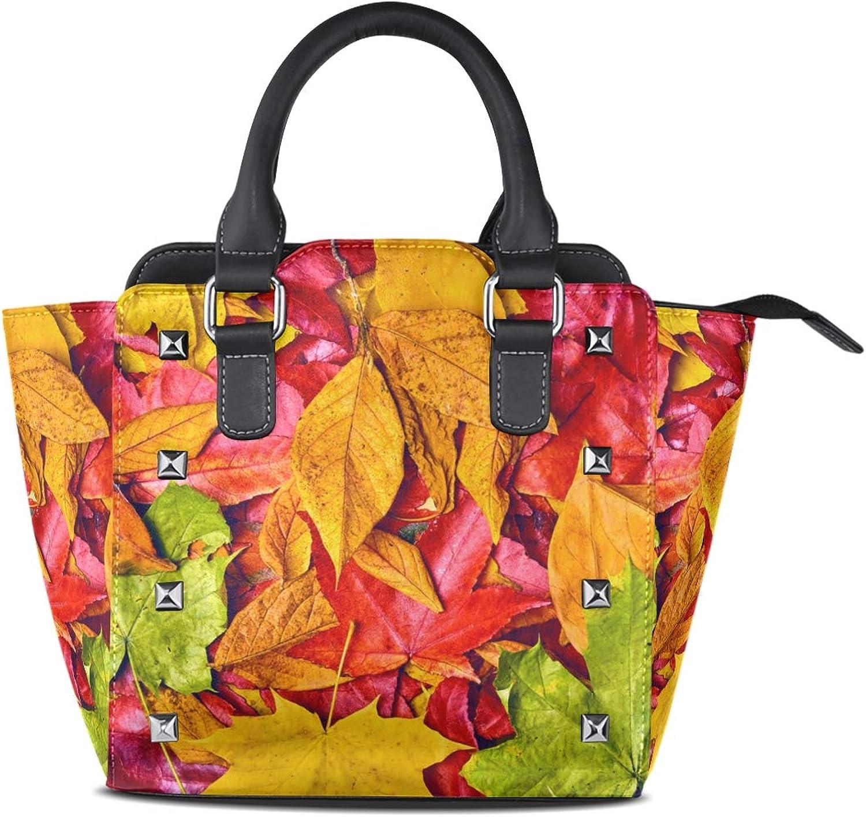 My Little Nest Women's Top Handle Satchel Handbag Nature colorful Autumn Leaves Printed Ladies PU Leather Shoulder Bag Crossbody Bag