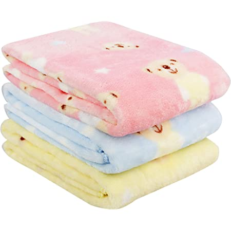 Uber World Baby Bath Towels Super Soft Flannel Fleece 260 GSM Size - 120 x 60 cms Muti-Color Pack of 3