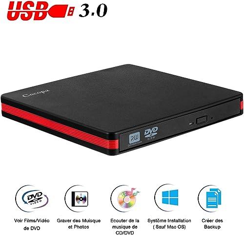 Lecteur DVD Externe, Cocopa USB 3.0 Graveur CD DVD Externe Enregistreur Portable DVD CD Rom +/-RW Mince Player Transm...