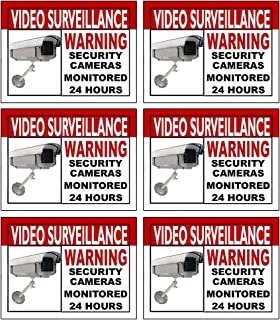 Best Quality Home Security Sign and Business Camera & Video Surveillance Sticker for Indoor Outdoor Use Long Lasting Weatherproof Window & Door Warning Alert 24 Hour Surveillance Decal 4x3 in - 6 Pack