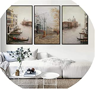 someone like you Water City Landscape Canvas Paintings Modular Pictures Wall Art Canvas for Living Room Decoration No Framed,21x30cm No Frame,3PCS Set