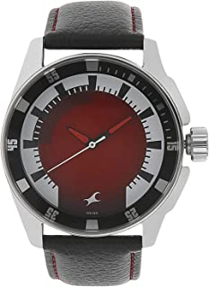 3089SL10 - Fastrack ANALG Men's, 50 meters Water Resistant, Red Dial, Black Leather Strap