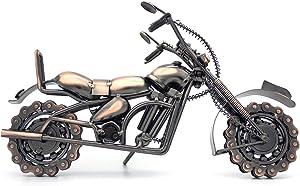 QIRLOEU Vintage Decor Metal Motorcycle Model Handicrafts Home Decorations Collectible Motorcycle Toys Cool Desk Accessories for Men Bookshelf Decor,Large,2.5lb