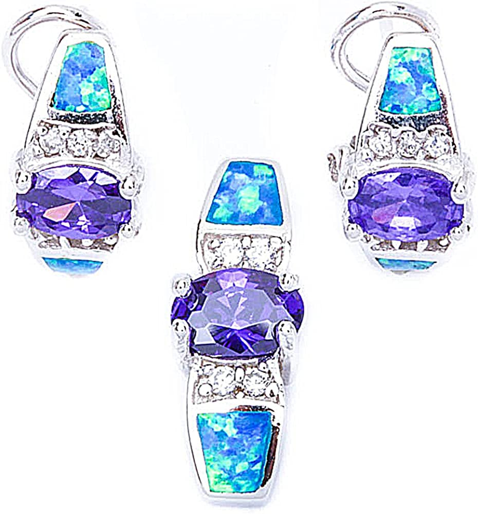 SEAL Popular brand limited product Lab Created Blue Opal Amethyst Silver .925 Sterling Penda Cz