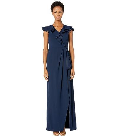 ML Monique Lhuillier Crepe Full-Length Ruffled Wrap Dress (Navy) Women