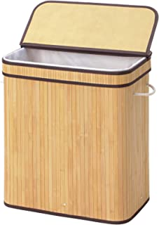 SONGMICS Bamboo Laundry Hamper, 100L Foldable Storage Basket, Dirty Clothes Bin Box with Lid, Handles, Removable Liner, Rectangular, Natural ULCB63NL