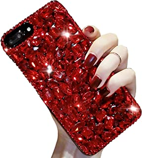 Bling Diamond Case for iPhone 11 6.1 inch,Aearl 3D Homemade Luxury Sparkle Crystal Rhinestone Shiny Glitter Full Clear Stones Back Cover with Screen Protector for iPhone 11 -Full Red