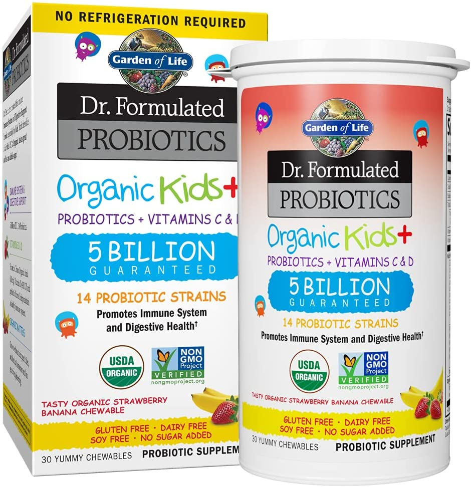 Garden of Life-Dr. Formulated Probiotics Organic Kids-Strawberry Banana-Acidophilus and Probiotic Promotes Immune System,Digestive Health-Gluten,Dairy,Soy-Free,No Sugar Added-30 Chewables
