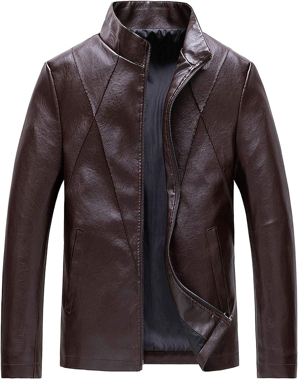 Men Leather Jackets,Vintage Classic Leather Zip Up Biker Bomber Jacket V1497