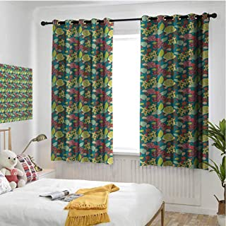 hengshu Garden Art Wear-Resistant Color Curtain Hand Drawn Style Colorful Bedding Plants Roses and Wildflowers with Little Dots 2 Panel Sets W72 x L84 Inch Multicolor