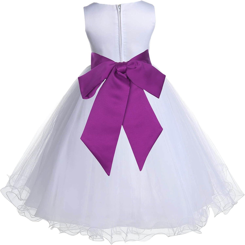 White Tulle Rattail Edge Formal Flower Girl Dresses Bridal Dresses 829S