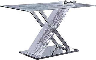ADEC - Mint Mesa de Comedor Fija Mesa en Simil Marmol Comedor Salon o Cocina Medidas: 140 cm x (Largo) x 80 cm (Ancho) ...