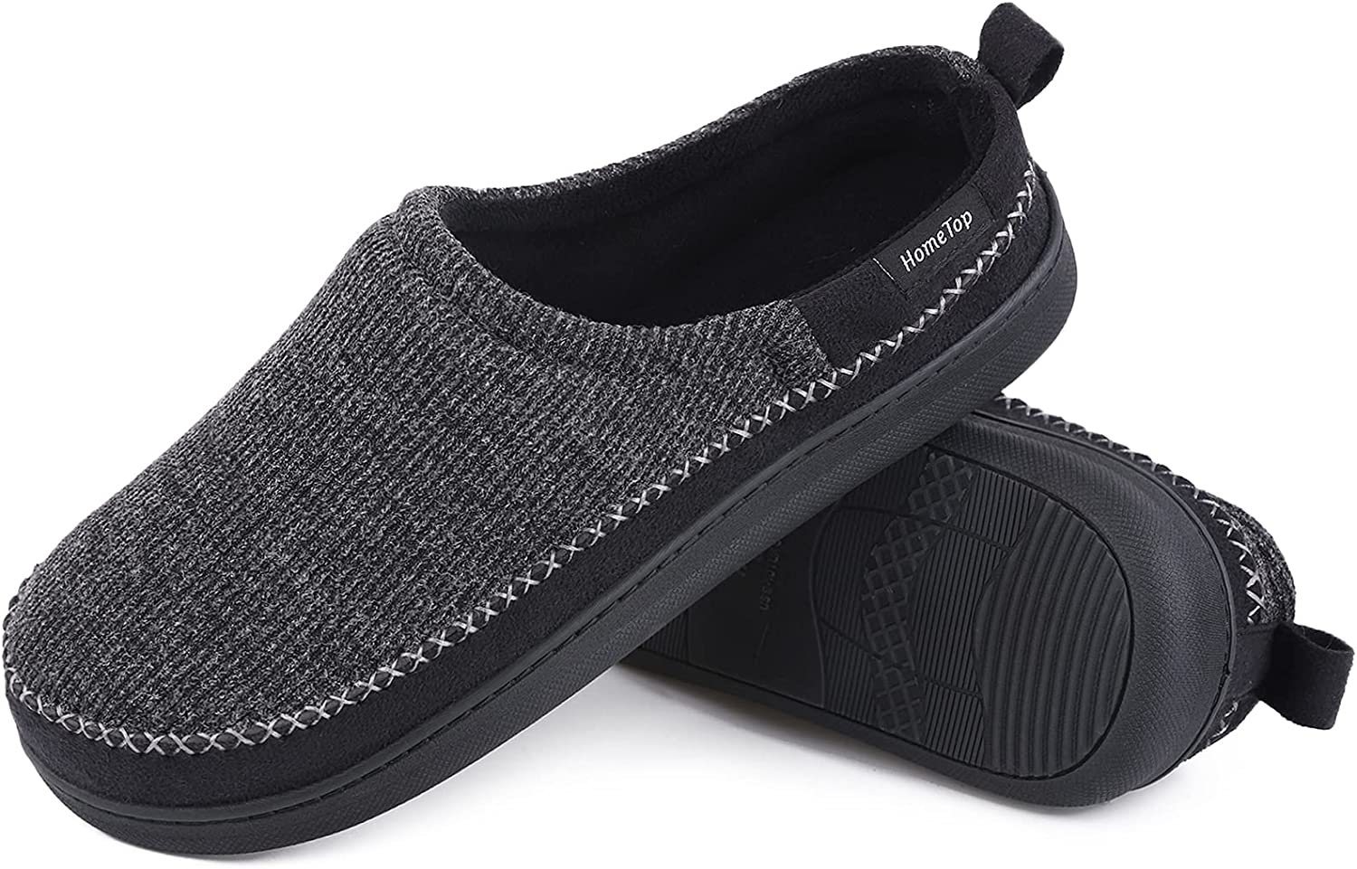 HomeTop Men's Same day Max 59% OFF shipping Comfy Cotton Knit Lined Memory Slippers with Terry