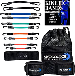 Kinetic Bands Leg Resistance Speed Bands – Speed and Agility Digital Training Videos, Workout Guides – 3 Options (BEG, INT, ADV) Specifically Designed for Maximum Results - Bonus Stretching Strap