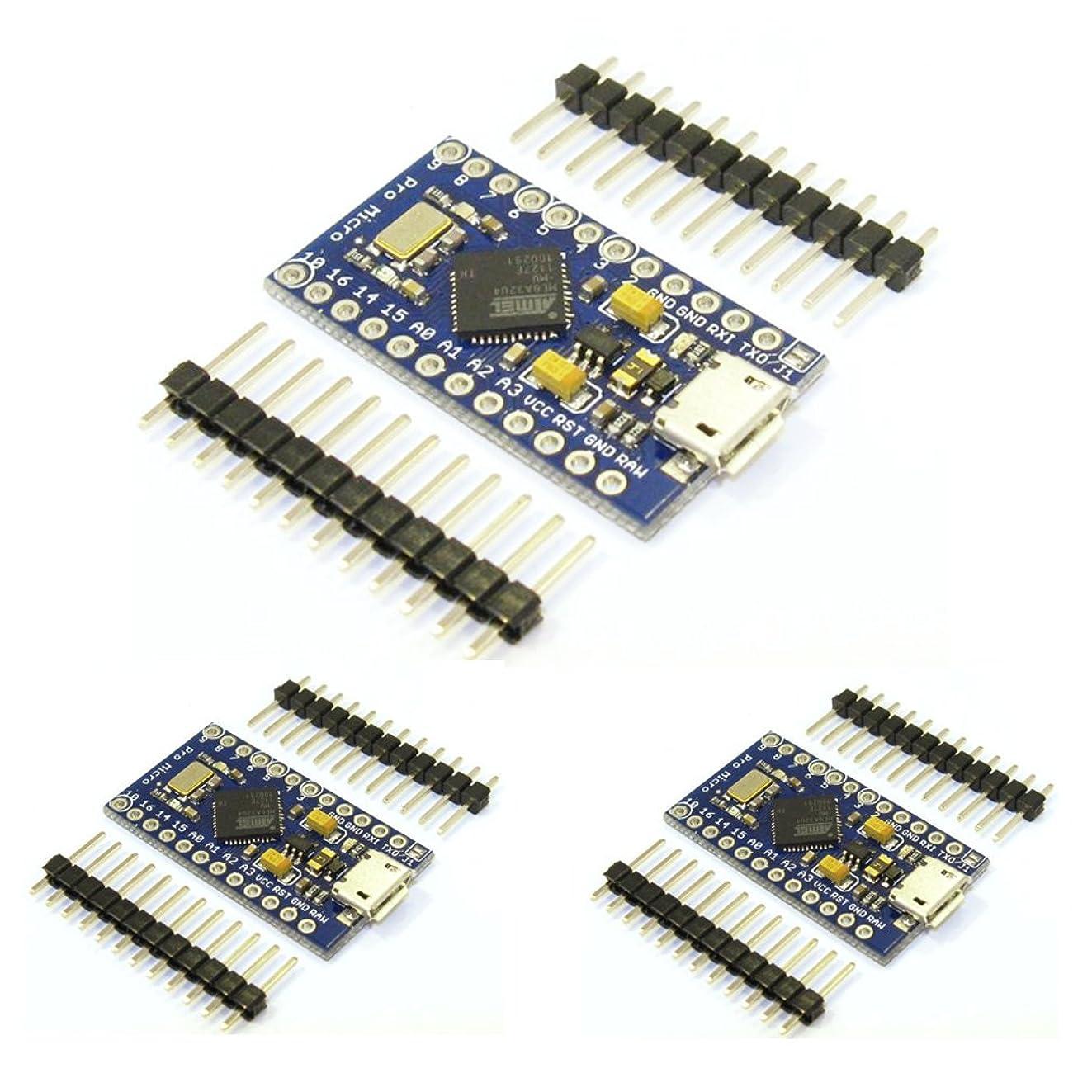 HiLetgo 3pcs Pro Micro Atmega32U4 5V 16MHz Bootloadered IDE Micro USB Pro Micro Development Board Microcontroller Compatible to Arduino Pro Micro Serial Connection with Pin Header
