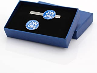 Jw.org Silver Color Necktie Clip and Lapel Pin Gift Set -Round Silver + Blue