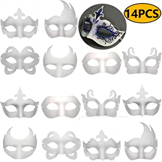 14 PCS DIY White Masks Paper Half Face Masquerade Masks Craft Mardi Gras Mask Plain Mask Paintable Blank Halloween mask