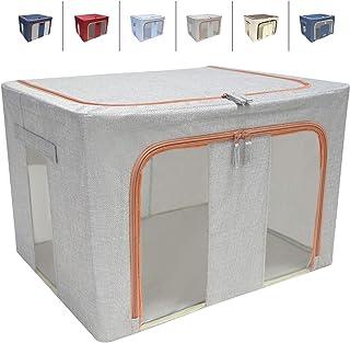LaiBa 布団収納ボックス 折りたたみ ステンレス製ブラケット ふた付き 整理箱 衣類 こども用品 おもちゃ 書類 絵本 CD・DVDなど様々な用品を整理収納 片付け ボックス (グレー, 1)