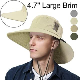 Tirrinia Unisex Outdoor Safari Sun Hat Wide Brim Boonie Cap with Adjustable Drawstring for Camping Hiking Fishing Hunting Boating