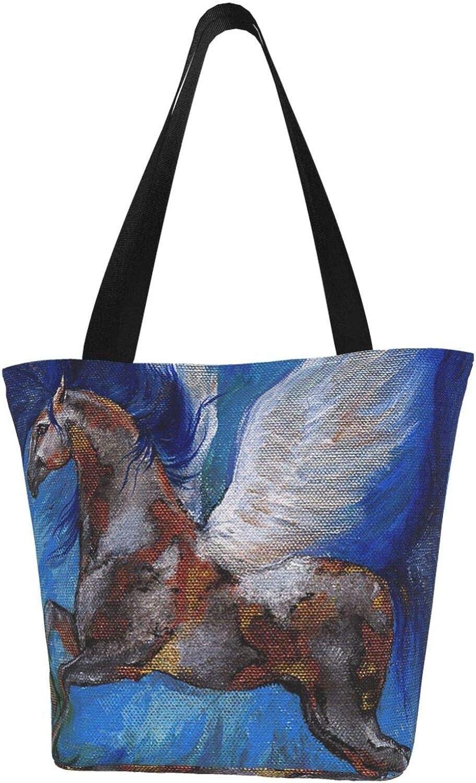 Winged Horse Art Blue Pegasus Themed Printed Women Canvas Handbag Zipper Shoulder Bag Work Booksbag Tote Purse Leisure Hobo Bag For Shopping
