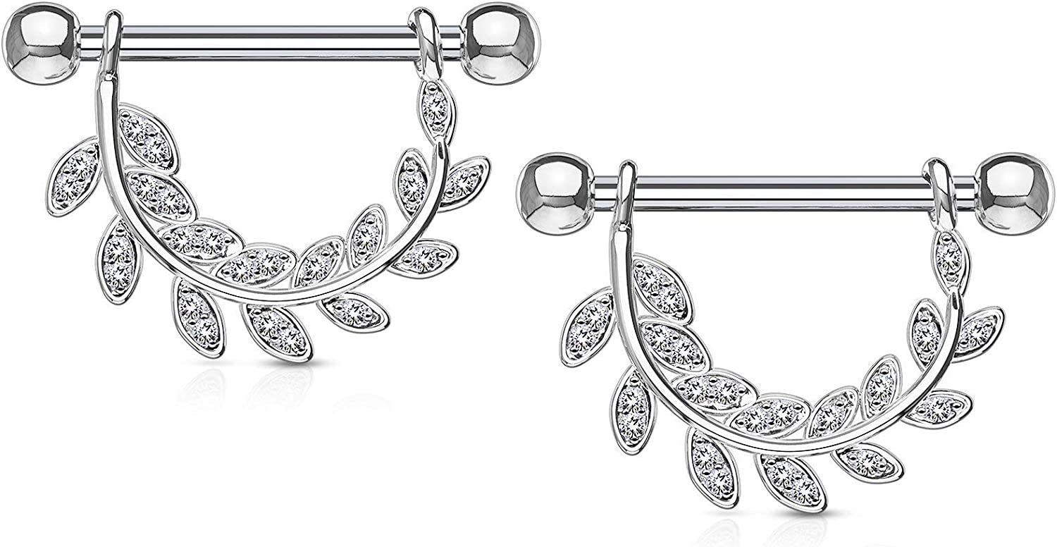 Forbidden Body Jewelry Pair of Surgical Steel 9/16 Inch (14mm) D-Ring Style Pave CZ Leaves Dangle Nipple Barbells
