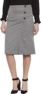 Martini Women Houndstooth Front Button Midi Skirt