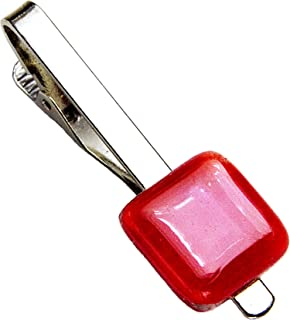 Krawattenklammer • Rot • Krawattennadel • Tschechisches Glas • Handgefertigt