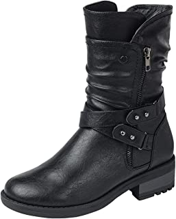 ShoBeautiful Women's Cross Buckle Ankle Boot Side Zipper Disdress Overlay Motorcycle Boot with Studs and Overlay Military Western AC03