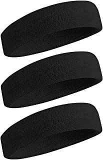 BEACE Sweatbands Sports Headband/Wristband for Men & Women - 3PCS / 6PCS Moisture Wicking Athletic Cotton Terry Cloth Swea...
