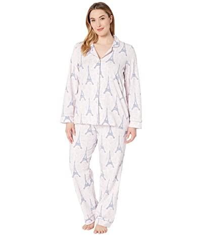 BedHead Pajamas Plus Size Long Sleeve Classic Notch Collar Pajama Set (Colette