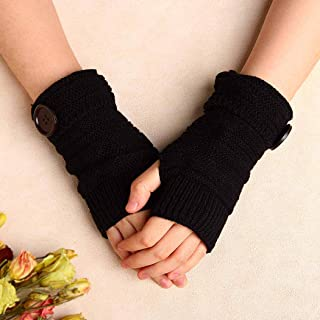 Zoestar Winter Arm Warmers Crochet Knit Fingerless Gloves with Thumb Hole Arm Gloves for Womenand Men (Black)