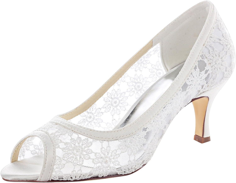 Emily Bridal Wedding Shoes Women's Lace To Heel Peep Max 42% OFF San Jose Mall Satin Spool