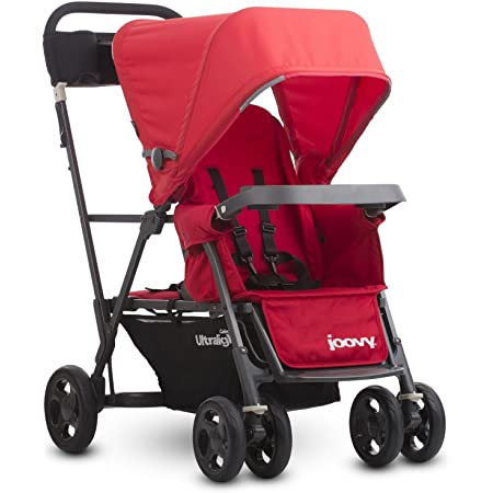 Joovy Caboose Ultralight Graphite Stroller, Sit and Stand, Tandem Stroller, Red