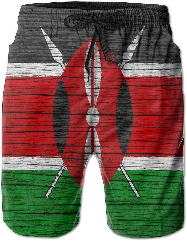 fbd261b31a HFSST Kenya Wooden Texture Kenyan FlagHandsome Fashion Summer Summer Summer  Cool Shorts Swimming Trunks Beachwear Beach Shorts 0d51c3