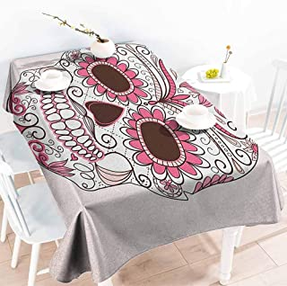 EwaskyOnline Washable Tablecloth,Sugar Skull Mexican Ornaments Calavera Catrina Inspired Folkloric Art Macabre,Modern Minimalist,W54x90L, Pink Pale Pink White