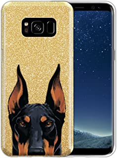FINCIBO Case Compatible with Samsung Galaxy S8 G950 5.8 inch, Shiny Sparkling Gold Bling Glitter TPU Protector Cover Case for Galaxy S8 (NOT FIT S8+ Plus) - Black Rust Doberman Pinscher Dog