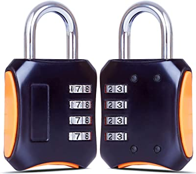 Padlock, 2-Pack (Heavy Duty ) 4-Digit Re-settable Combination Codes Locks, Luggage Locks for Gym, Indoor, School or Sports Locker, Toolbox, Fence and More! (Black 2 Pack)