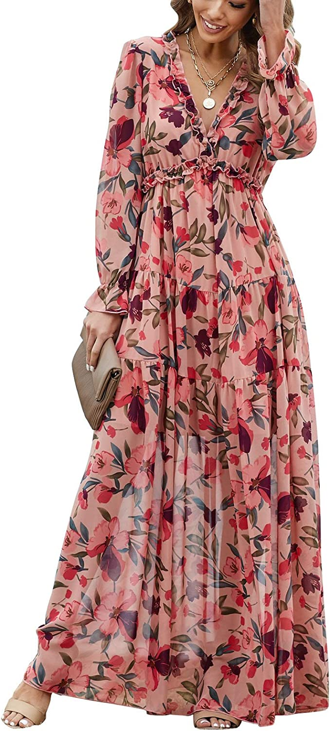 BLENCOT Womens Casual Floral Deep V Neck Long Sleeve Long Evening Dress Cocktail Party Maxi Wedding Dresses