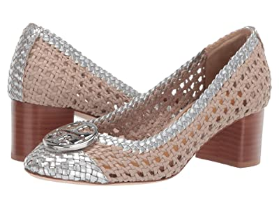 Tory Burch 50 mm Chelsea Woven Cap-Toe Pump (Light Taupe/Silver) Women