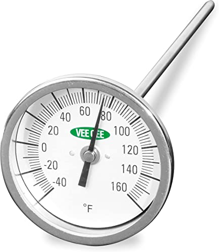 """Vee Gee Scientific 82160-6 Dial Soil Thermometer, 6"""" Stainless Steel Stem, 3"""" Dial Display, -40 to 160-Degree F,Silver"""