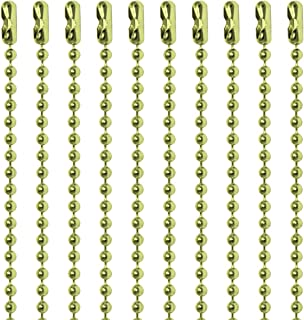 30 Inch Brass Plated Steel Number 3 Ball Chain Necklaces 10 Count