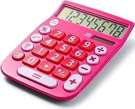 Office+Style 8 Digit Dual Powered Desktop Calculator, LCD Display, Pink - A2DESKTOPPINK