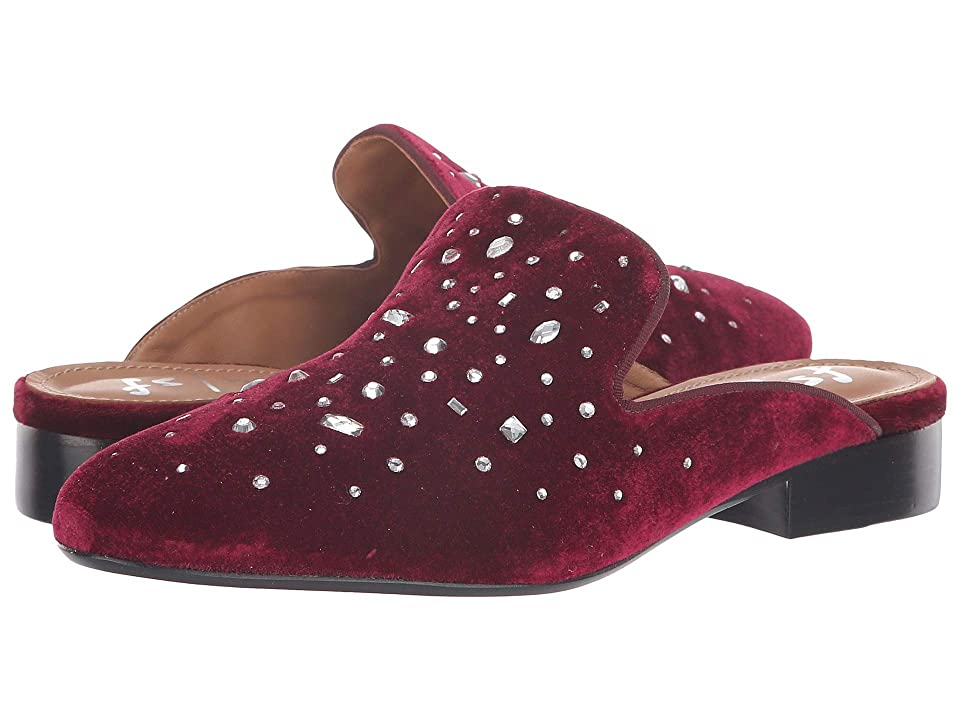 French Sole Cascade Slip-On Mule (Ruby Red Velvet/Clear Crystal) Women