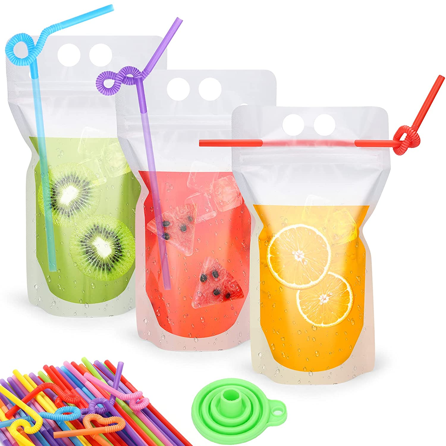 100 Pcs Drink Pouches with Straw for Adults & Kids, Reusable Frozen Juice Alcohol Cocktails Drinking Bags Heavy Duty Hand-Held Plastic Drink Containers with Funnel for Smoothie Cold Drinks