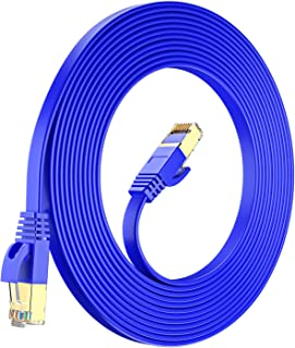 Maximm Cat7 Flat Ethernet Cable - RJ45 Gold-Plated Connectors. 600 MHz, for Computers Network Components Blue Blue 35 Feet