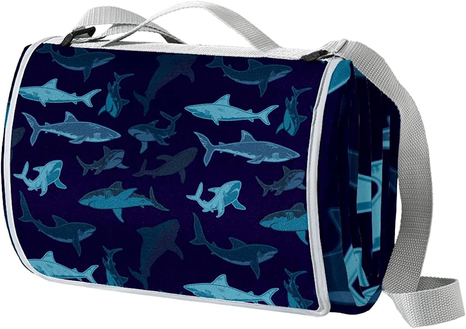 Navy Blue Sea Shark Challenge the lowest price Pattern Swimming Waterproof Blanket O cheap Picnic