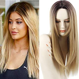 Synthetic Ombre Wigs for Women Two Tone Black Roots Natural Long Straight Heat Resistant Synthetic Blonde Hair Wigs with Wig Cap (Blonde)