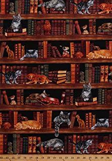 Cotton Cats Kittens Books Library Bookshelves Bookcase Bookworm Librarians Bibliophile Reader Animals Birds Owls Figurines Realistic Cats Feline Cotton Fabric Print by The Yard (CAT-C2863)